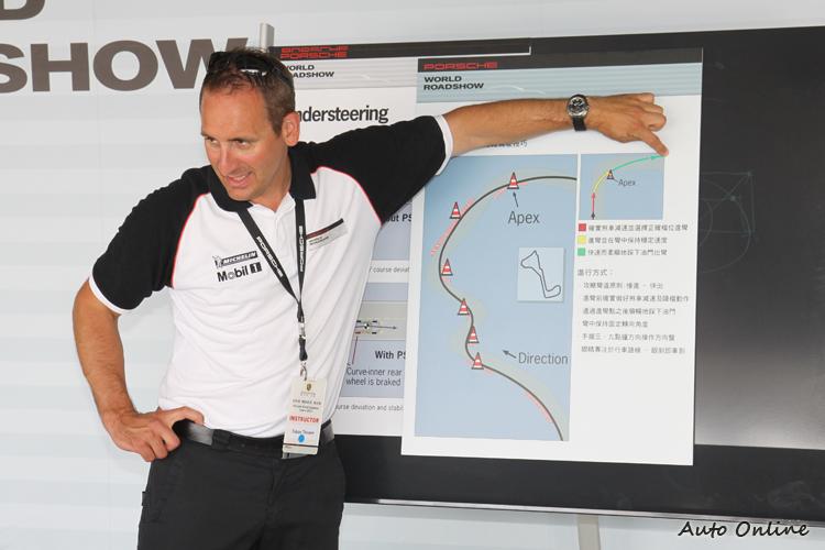 不同的驅動模式會有不一樣的動態特性,教練講解完最佳路線後立刻上賽道實作。