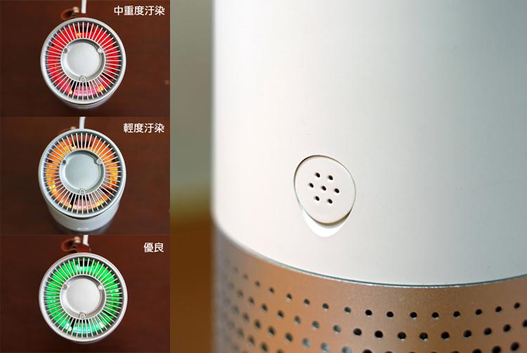 傳感器位於機身側邊,依照汙染程度分三種燈號顯示。