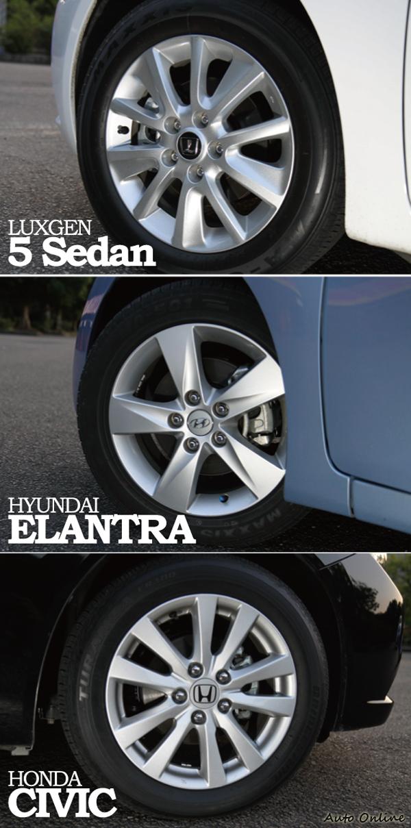 考量成本三車的配胎均為16吋,ELANTRA與5 Sedan分別使用Maxxis MA-501與MA-651的配胎,CIVIC則是Bridgestone  ER300。三者其實都是經濟安靜取向胎,抓地力均非其特長。