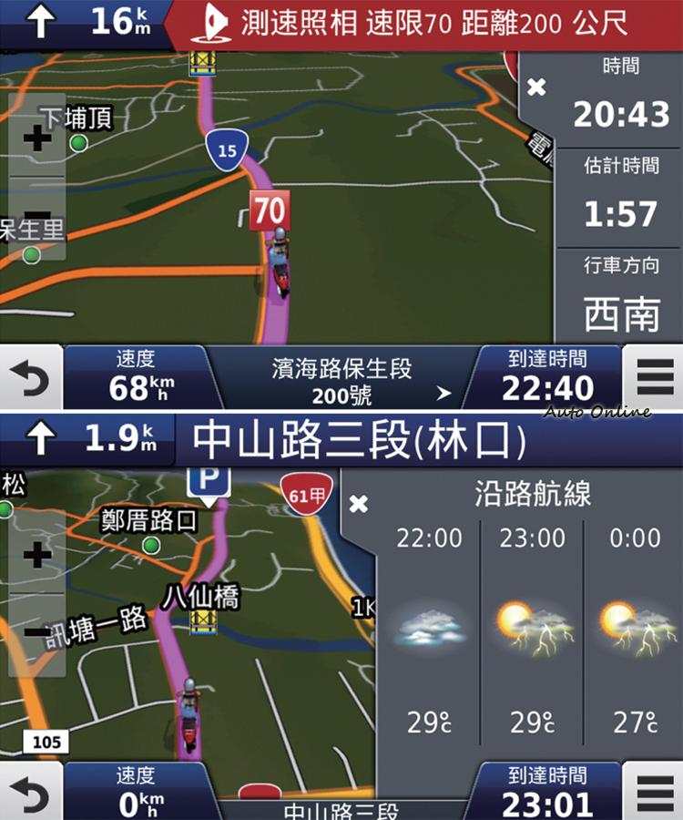 圖資內建測速照相點警告,連上手機還會告知沿路天候預報,不過測速照相點畢竟無法顧及全部,使用時還是遵守交通規則才是王道。