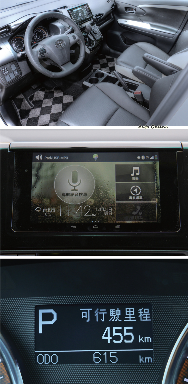 Wish內裝的塑膠感偏重,不講究控制鍵的造型而只求實用,中控台設計看起來雖然過時,但給人更寬敞的感覺。儀錶只有陽春的旅程電腦功能,新車型可配置行動平板作為影音娛樂系統的平台。