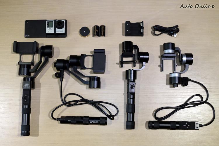 智雲三軸穩定器由右到左分別是Z1-RIDER II(售價8,900元)、Z1-EVOLUTION(售價11,500元)、Z1-SMOOTH R(售價7,900元)、Z1-SMOOTH C(售價7,900元)。