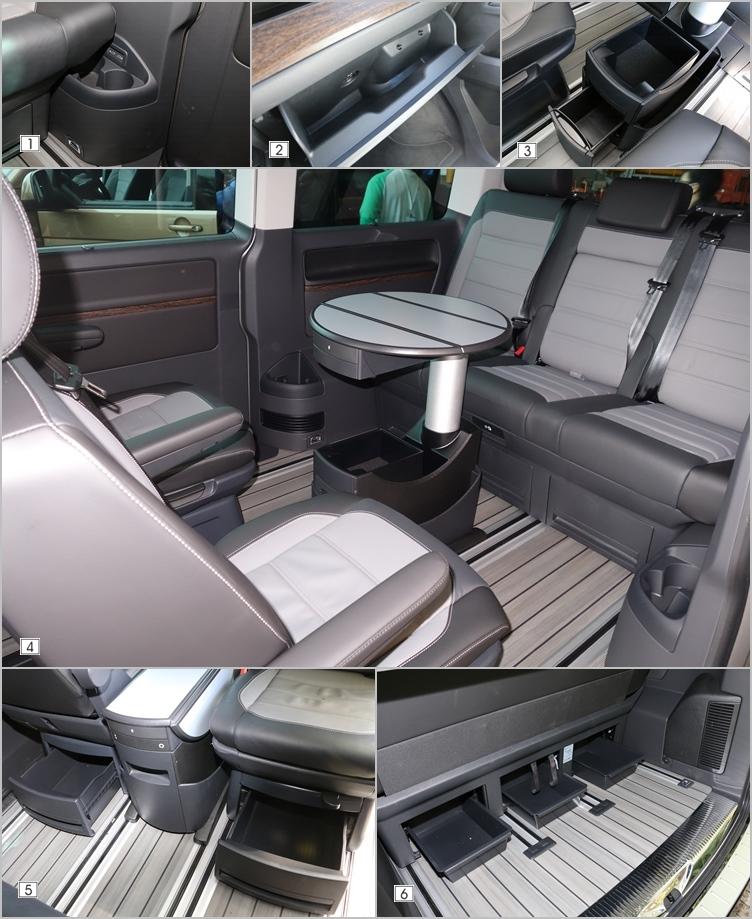(1)包括前後排座艙和行李廂,都提供多組的USB充電孔和12V電源插座。(2)由於其他地方提供相當多元的置物空間,手套廂空間大小就沒有那麼重要了。(3)折疊桌本身就藏滿了各式的置物格,還有兩套活動杯架可以使用。(4)後排可輕易調整成為小型會議室,成為本車最大特色之一。(5)+(6)第二、三排座椅下方提供隱藏式收納抽屜,不用擔心各種雜物沒地方放。