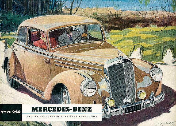 主題為「Character and Comfort」的手繪Mercedes-Benz 220 (W187)在一本英文別冊中登上封面。