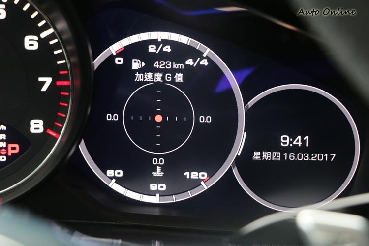 透過方向盤上的小滾輪就能切換儀錶上的功能,包括單圈計時器與G值計都在其中。