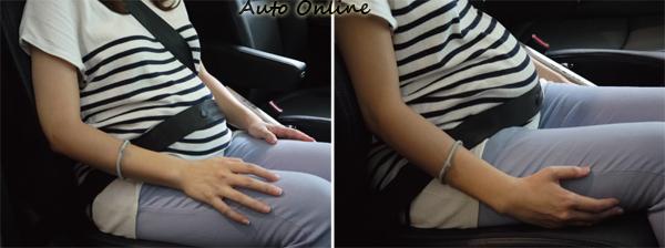 對於孕婦來說正確的配帶安全帶尤其重要,除了不要壓迫頸部外,腹帶以跨過骨盆為主,不需要繫太高。