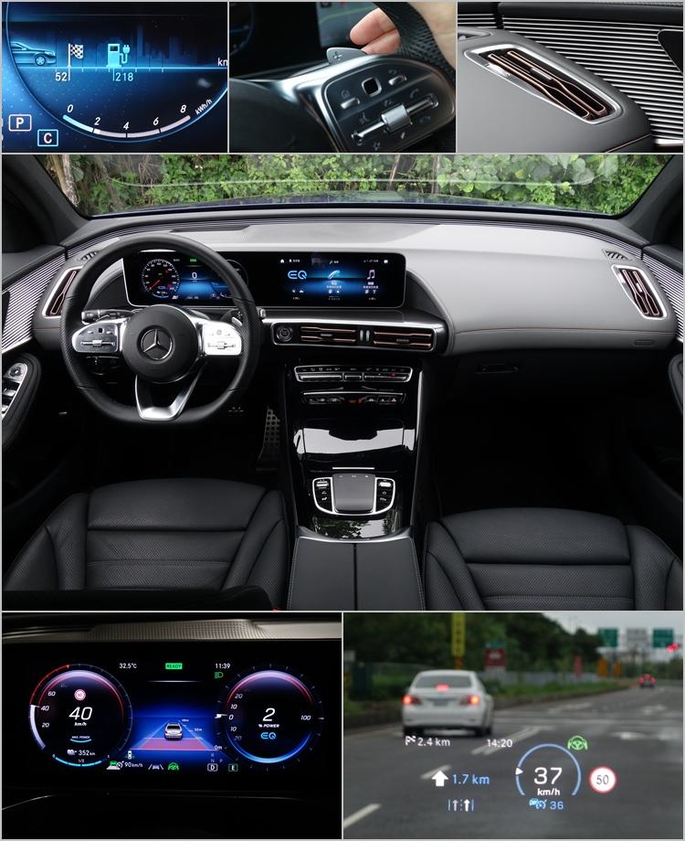 玫瑰金的出風口是座艙少數比較特別的設計。儀錶畫面會顯示目的地和最多可行駛里程,並隨著距離改變。HUD提供的各種資訊相當豐富,辨識性也很不錯。數位儀錶以不同顏色、圖示和文字,確保判讀的直覺性。透過撥片改變駕駛模式看似奇特,習慣之後發現其實很方便。