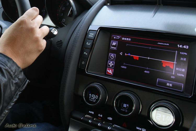 螢幕雖然提供煞車、油門、G值即時圖表,不過激駕中恐怕沒有時間觀看。