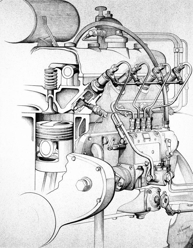 全世界第一輛柴油汽車在1936年誕生,這是260 D(W138)所用的柴油引擎,基本運作原理迄今並沒有太大改變。