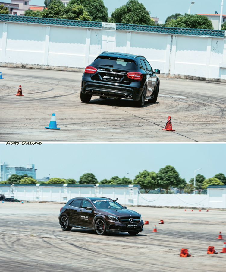 在賽道外的水泥空地,用錐桶排列了一個Auto-X小競賽圈,場地非常滑,開GLA45挑戰最短起步繞錐與煞停的時間。是個趣味競賽,也考驗最小偏滑與煞車時機的掌握。