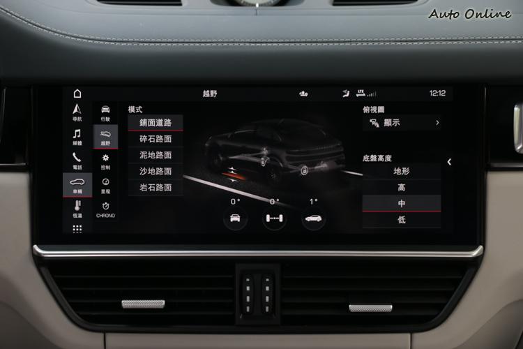 此車選配了越野功能套件,透過PCM觸控螢幕中切換模式,維持最大的推進力。