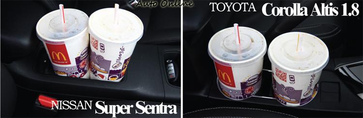 置杯架實測,Altis表現比Sentra更加充裕些。