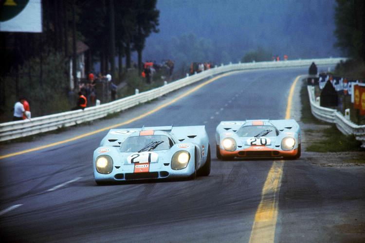 1971年Porsche 917 KH於Spa-Francorchamps賽道的歷史照片。