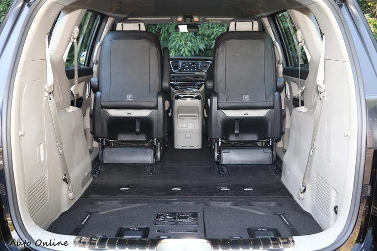 第三排座椅可輕鬆收折至行李廂底板之下,連同彈性收折的第二排座椅,最大可創造高達2,718升的行李艙容積。