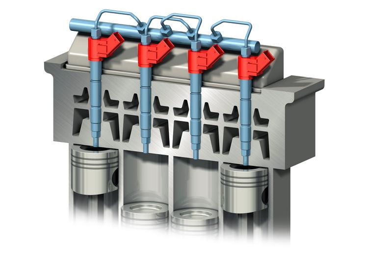 i-Art技術示意,每個汽缸內的噴油嘴內都有燃油壓力感應器與微型電腦來監測與調整供油與燃燒狀況,讓每個燃燒行程都得到正確的供油量