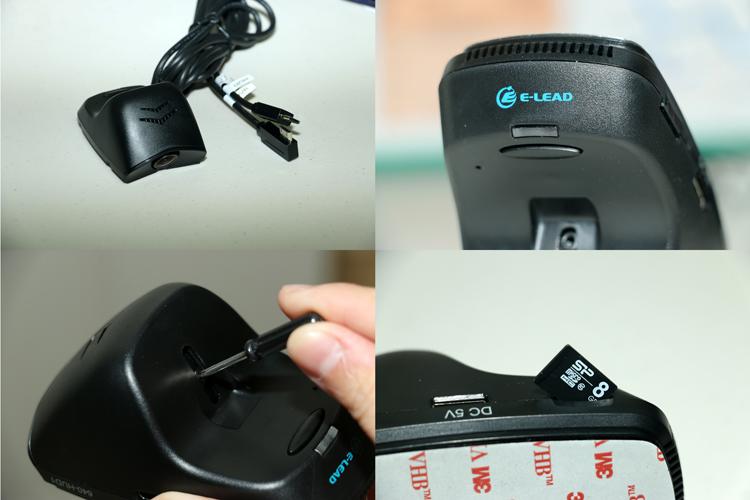 抬頭族隱密型行車紀錄器採用1/2.7CMOS感光元件,最高可紀錄1920x1080 30fps的影像,鏡頭後方配有俯仰角調整孔與實體按鍵,提升燈分為紅、橙、綠與閃爍紅四種。