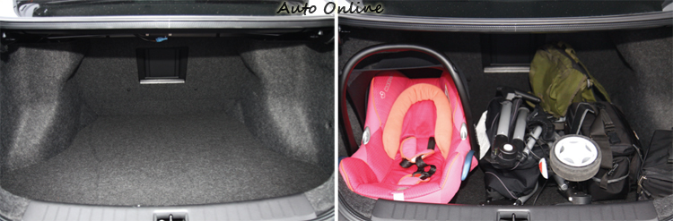 Sentra在後行李箱空間表現優異,無論是開口寬度或內部高度都相當充裕。