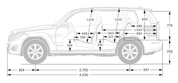 GLK車身尺寸,單位為mm