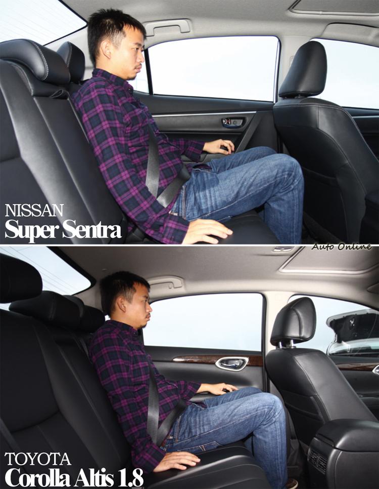 兩者後座空間其實都不錯,但Sentra除了又更寬裕外座椅也更為舒適。