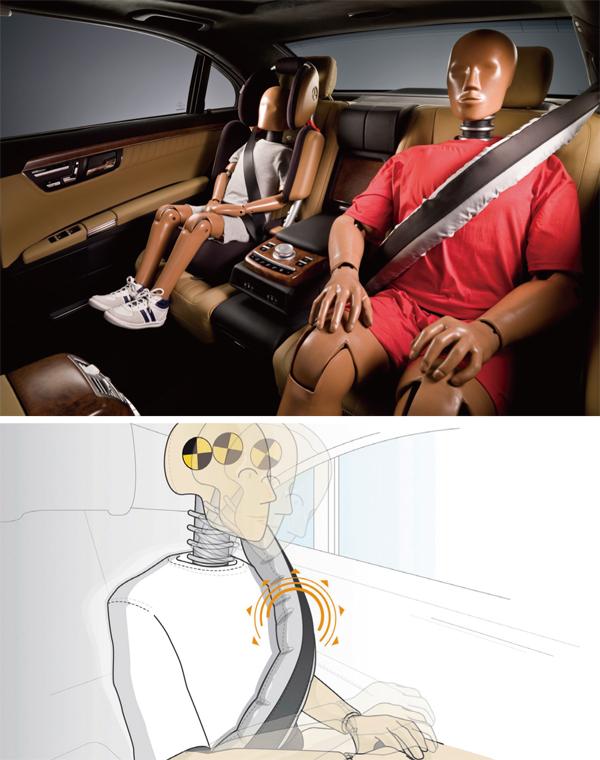 後座安全帶氣囊有助緩和緊急煞車與撞擊時身體前衝的力道,防止上半身出現「甩鞭運動」。