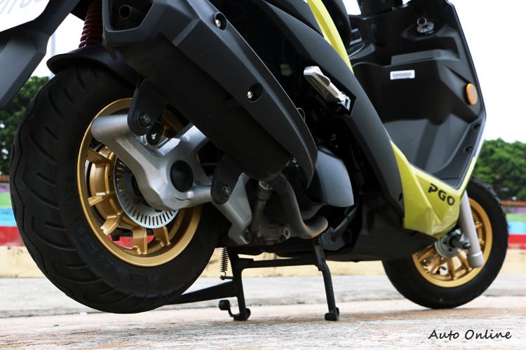 PGO BON 125 ABS 採用BOSCH 9.1ML單迴路ABS系統,前後輪皆配有輪速感測器。