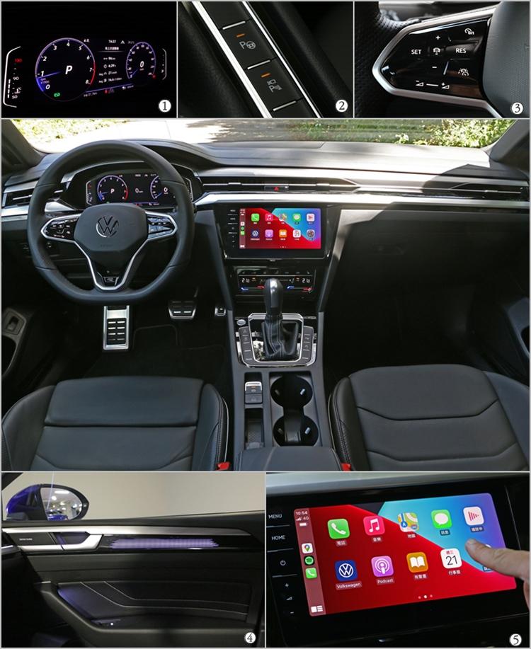 (1)10.25 吋全邏輯數位化儀表提供不同顯示模式,以豐富資訊功能伴隨駕駛入座。(2)現代都會生活必需的360度環景顯示和自動停車輔助功能也是本車的標配項目。(3)智慧車陣穿梭系統可一鍵啟用各種主動駕駛輔助功能,使用上相當方便。(4)室內氛圍燈有多達30色的選擇,顯示在發光飾板上的效果相當驚人。(5)第三代MIB資訊娛樂系統協助打造Arteon的高度數位化座艙空間。
