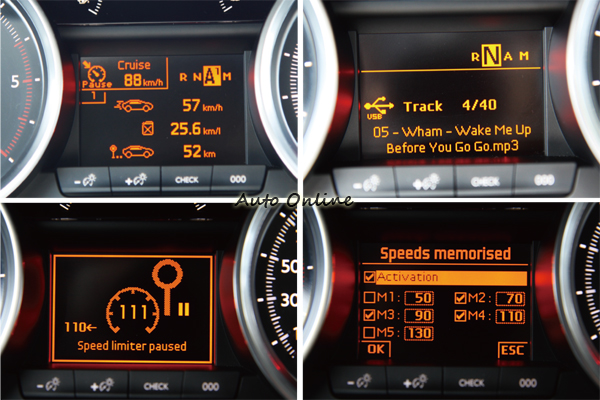旅程電腦具有相當多資訊,包括曲目、電台,甚至還能預設五組定速。