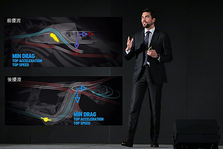 Lamborghini亞太區銷售經理Davide Sfrecola介紹這款新車的主動式空力設計,為它創造出無可匹敵的性能優勢。