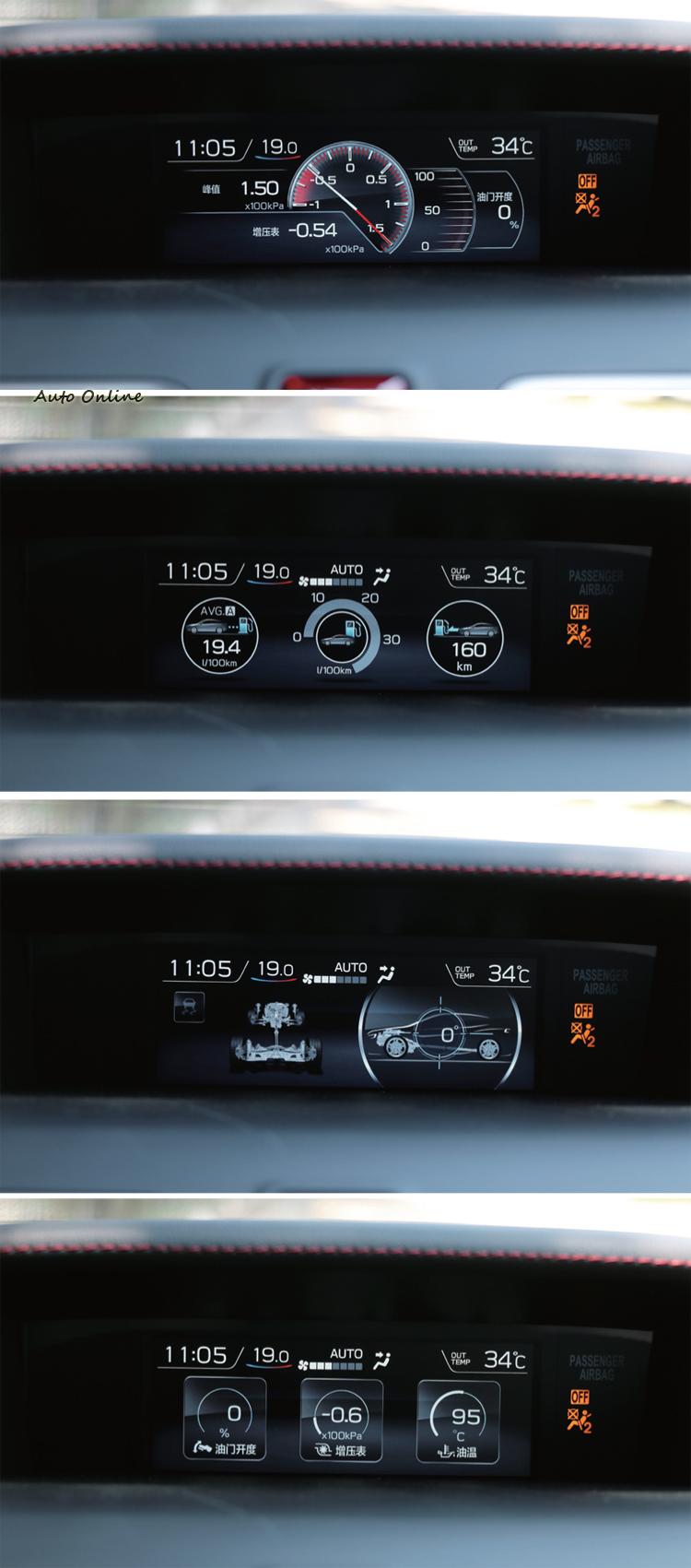 中控台最上方4.3吋跑車化全彩螢幕升級為5.9吋,從中駕駛可監控車輛狀態,原廠功能就有渦輪增壓值監控功能,車主不需要再額外加裝監控儀表。