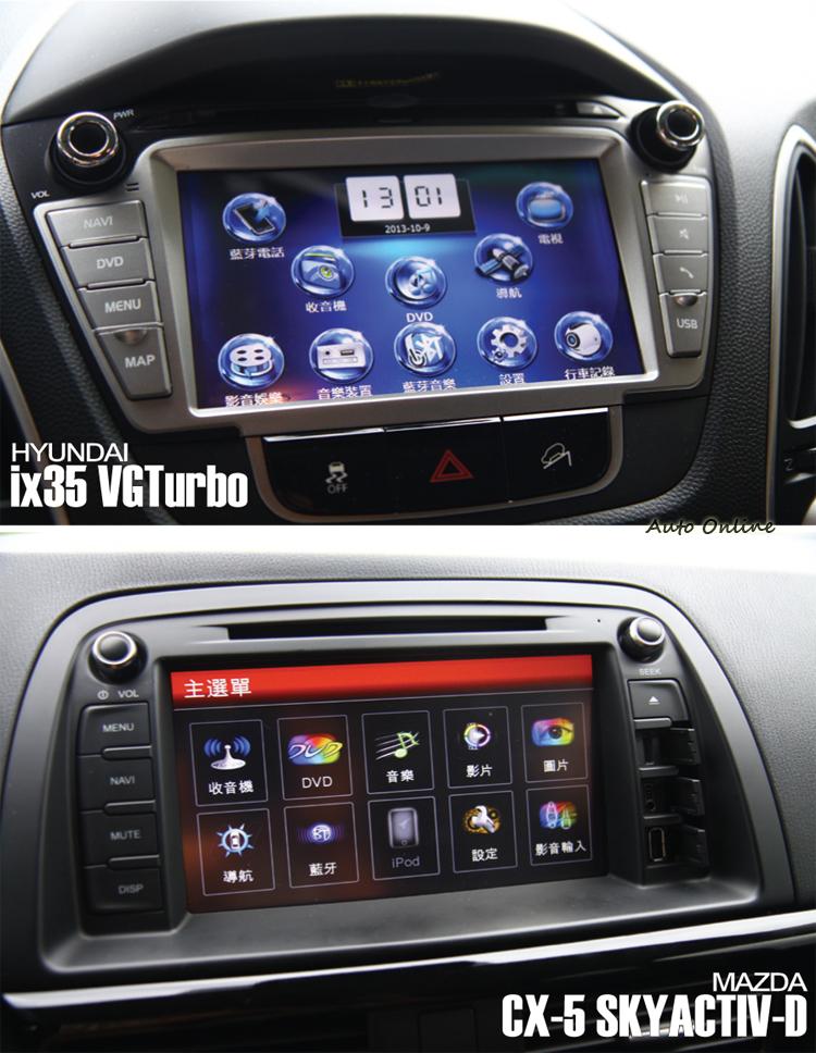 影音系統接中文化並整合倒車顯影、導航等功能。不過兩者應該都是來台加裝的系統,在觸控流暢度上則是一般水準。
