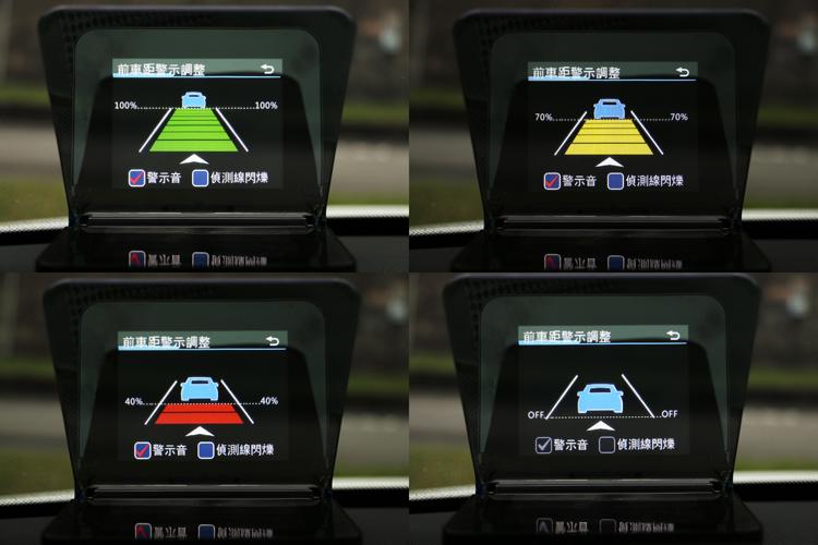 車距警示調整選項,分為100%、70%、40%、off,設定完成後主機會透過行車紀錄器進行距離的分析並給予警示。