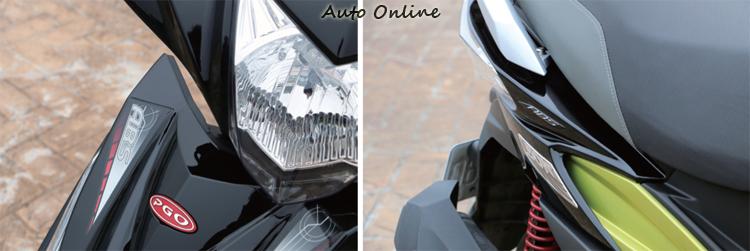 PGO BON 125 ABS在車頭與車側增加ABS貼紙提高車款辨識度。