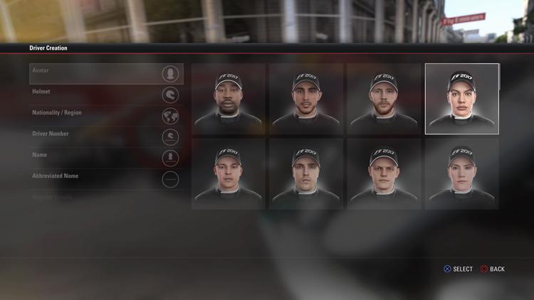 生涯模式首次加入女性臉孔,是F1 2017的遊戲特點。