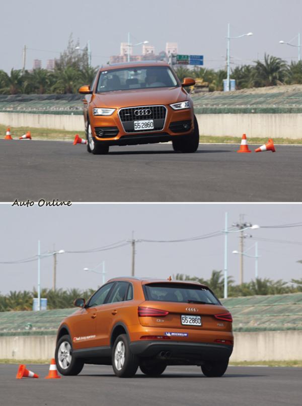 Audi用Q系列來進行繞錐訓練,可見對自家休旅的操控性很有信心。