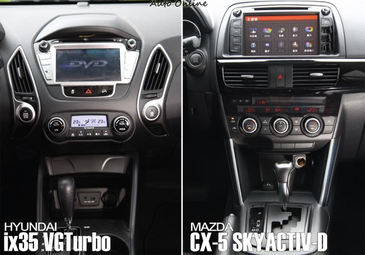 除了冷氣出風口外兩車在中控台上的配置其實大同小異,也都同樣用了6速手自排變速箱。