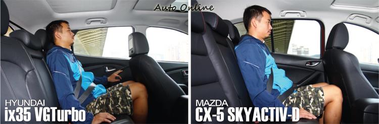 兩者在頭部空間戰成平手,但182cm坐進後CX-5以9公分的膝部空間勝過ix35的3.5公分。不過試乘員反應CX-5後椅背有較挺直的問題。
