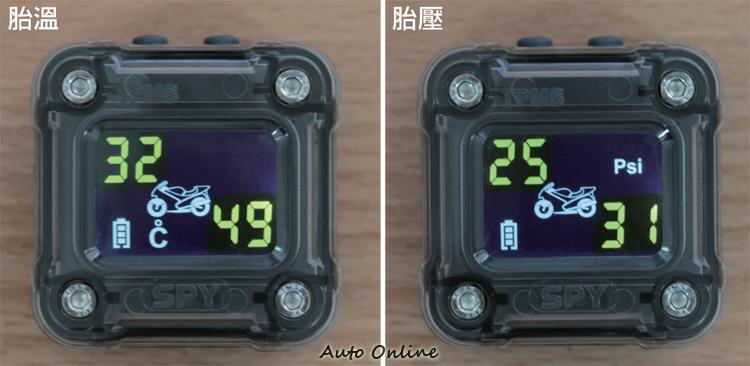 資訊的顯示順序分別為胎壓50秒胎溫8秒,可透過上放的設置鍵即時接換。