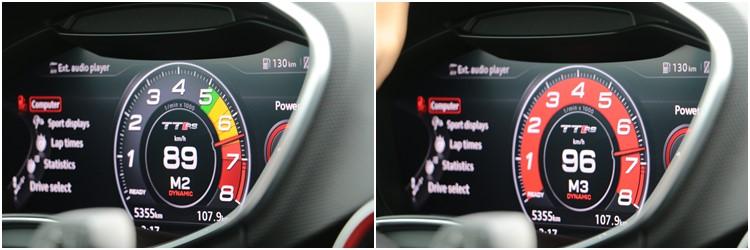 TT RS的數位儀錶具備超轉提醒功能,注意左邊照片在2檔,而右邊照片升上3檔反而超轉,一旦越過6500rpm超轉區界線,背景就會變成紅色。