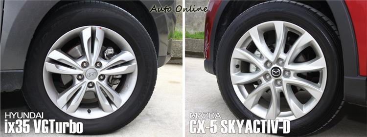 ix35 VGTurbo 輪胎尺碼為225/60R17,CX-5 SKYACTIV-D則是225/55R19!