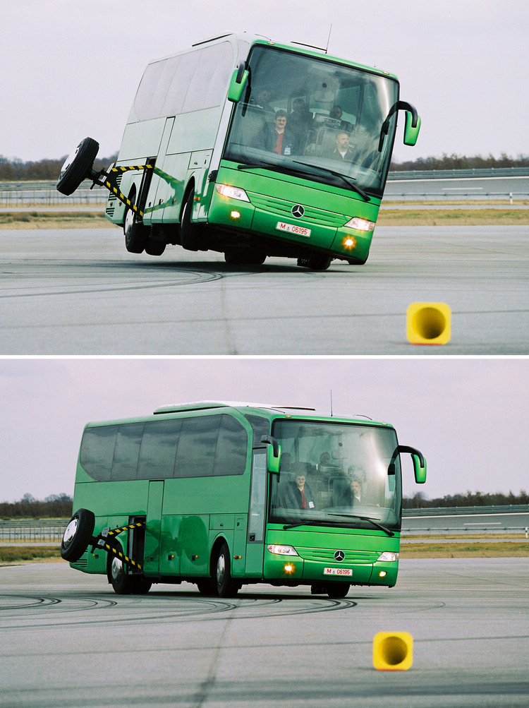M-Benz商用車生產的Travego是全球大型巴士中,率先搭載ESP主動安全科技的車款之一。由測試比較圖中可以看見有無ESP所造成的差異。.