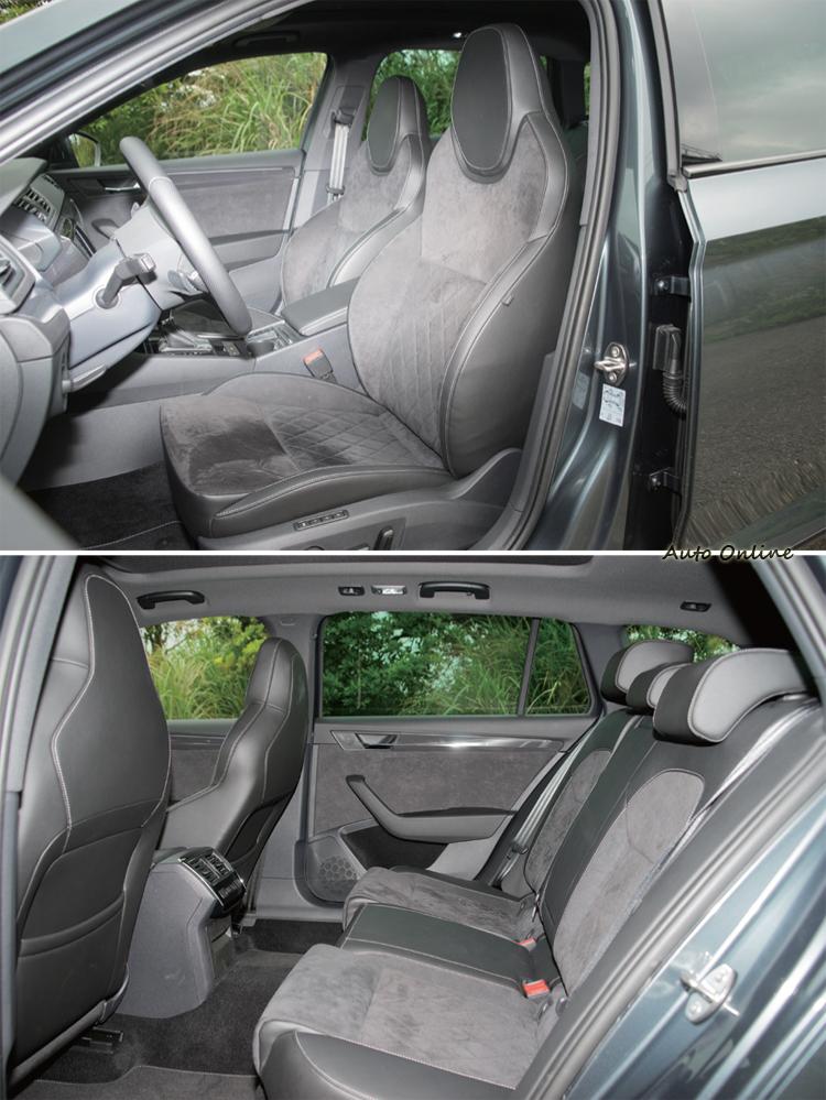 黑色Alcantara真皮滾白縫線包覆的座椅帶來更好的質感與包覆感。
