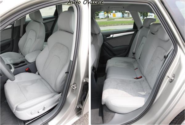 A4 Avant 2.0 TFSI quattro配置有麂皮與Milano真皮混搭的座椅,前座座椅兩邊的包覆性不錯,後座的膝部空間勉強接受。