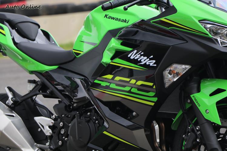 全新設計的整流罩配上Ninja400字樣,讓人感覺它不好惹。