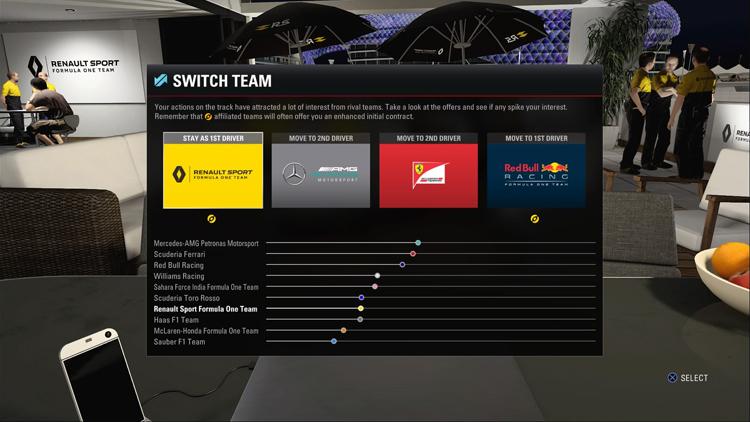 完成生涯模式的單一賽季後,玩家可以考慮轉換車隊。