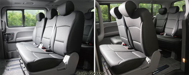 6/4分離第二排座椅可前後滑移調整,椅背傾斜角度也可調。