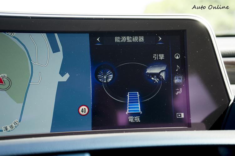能源監視器可顯示動力輸出的狀態。