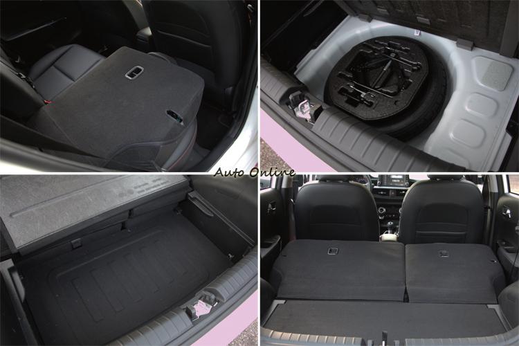 後座椅背分離設計,行李廂下有隱藏空間,甚至沒有省掉備胎,空間規劃能力讓人驚奇。