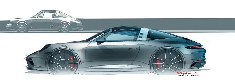 全新911 Targa延續初代車型的寬厚的防滾籠和圓弧尾窗等特徵,數十年來車身比例與輪廓幾乎沒有太大改變。